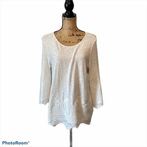 Adrianna Papell Top Ivory Long Sleeve Small